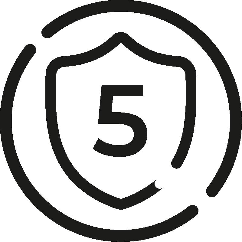 Ícone 5-year commercial warranty